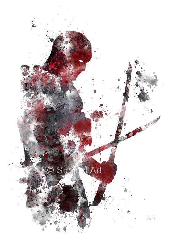 Ilustración de la lámina de Deadpool, superhéroe, decoración casera, arte de la pared, Marvel