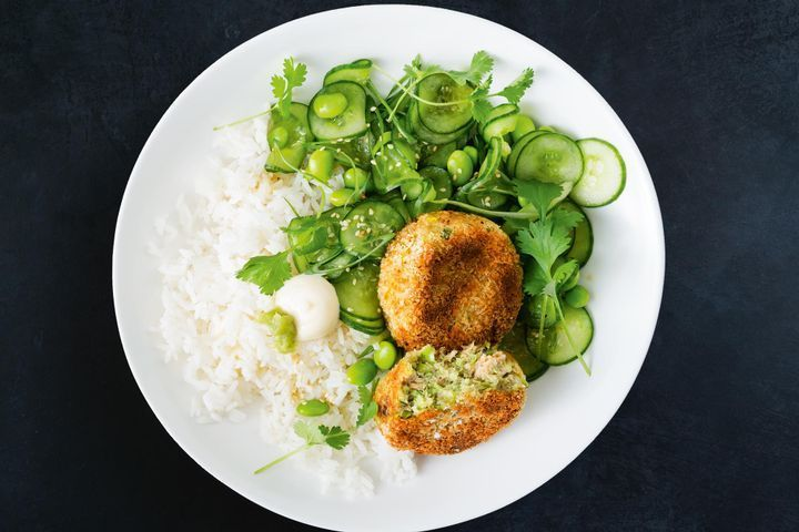 Salmon and edamame cakes with cucumber salad