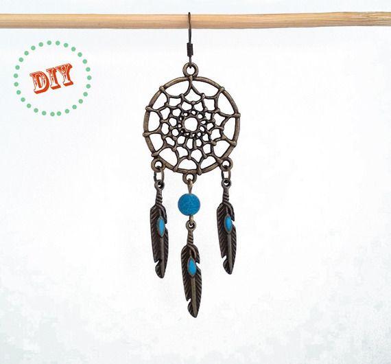 Kit DIY boucles d'oreille attrape rêves - dreamcatcher, plumes émail bleu, perle d'agate givrée