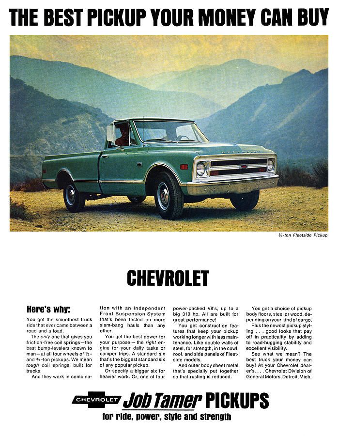 1968 Chevy 3/4 Ton Fleetside Pickup Truck Digital Art by Digital Repro Depot