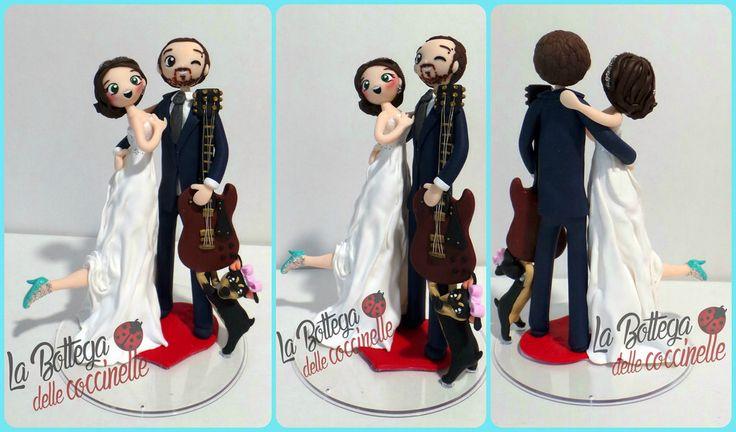 Cake topper per matrimonio - wedding cake toppers / decorazioni per torte nuziali de la bottega delle coccinelle di Sara Favre