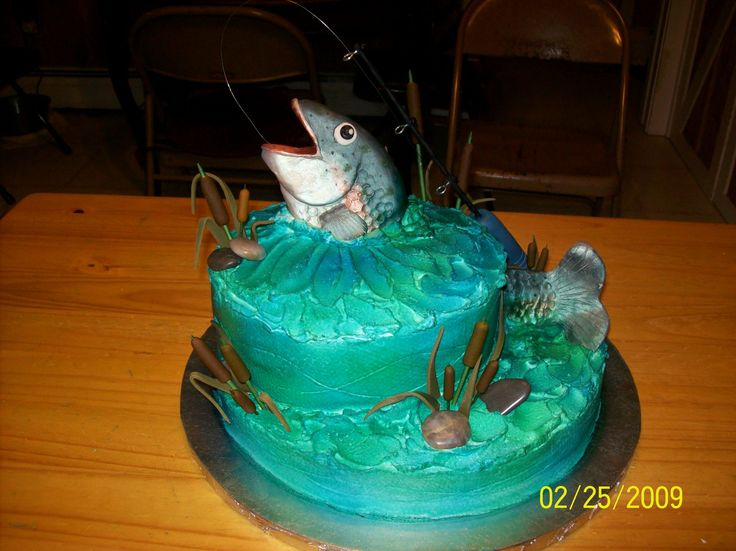 Fishing theme retirement cake fish is hand sculpted from for Fishing cake ideas