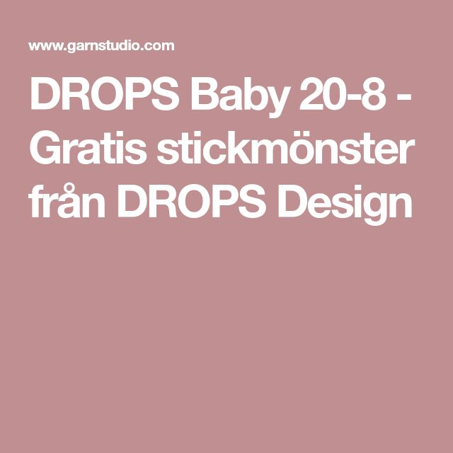 DROPS Baby 20-8 - Gratis stickmönster från DROPS Design
