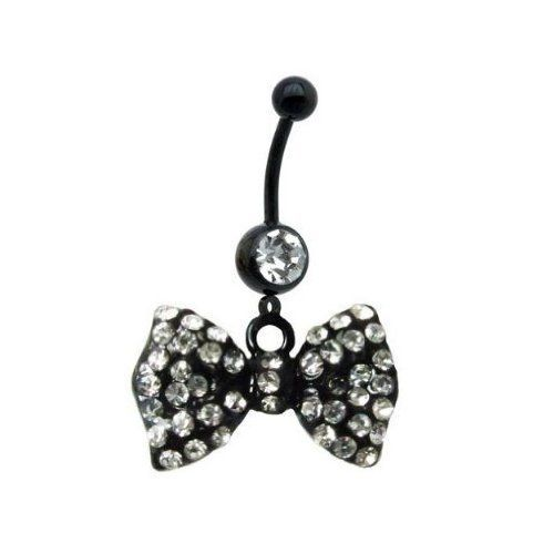 "Black Bow Dangle Belly Ring With Stones Belly Button Ring, Belly Ring Bow 316L Surgical Steel 14 Guage + 1 Free Belly Retainer BodyJ4You - Belly Rings. $0.01. Stainless Steel Gauge: 14G Size: 7/16"". Cubic Zircunia Stones.. Highest Quality, 316 L Surgical Stainless Steel.. Choose your color.. 1 Free Belly Retainer"