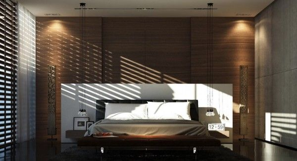 Wood paneling and shutters give this bedroom a cozy atmosphere and let you block out the light when you want to sleep in.