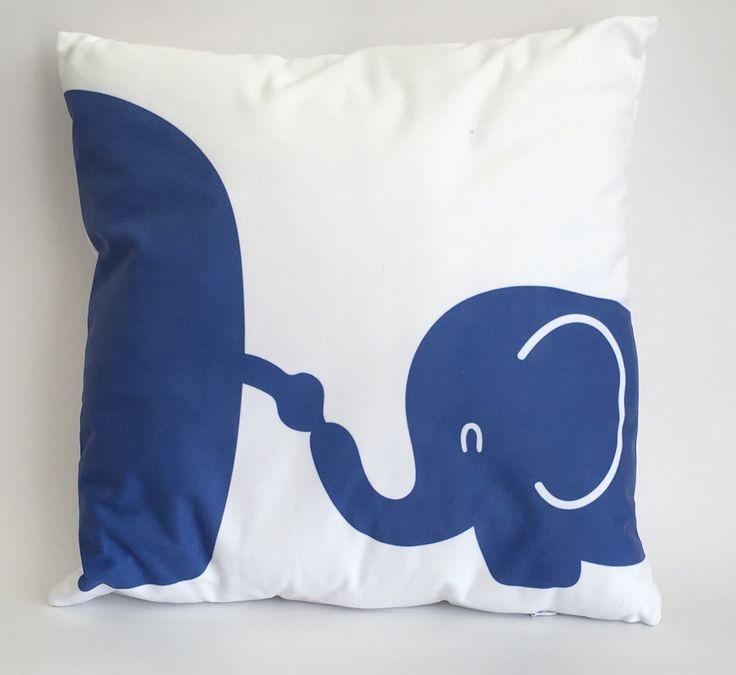 Blue elephants cushion