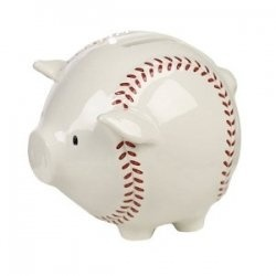 Baseball Piggy Bank...this or a football version would be cute!