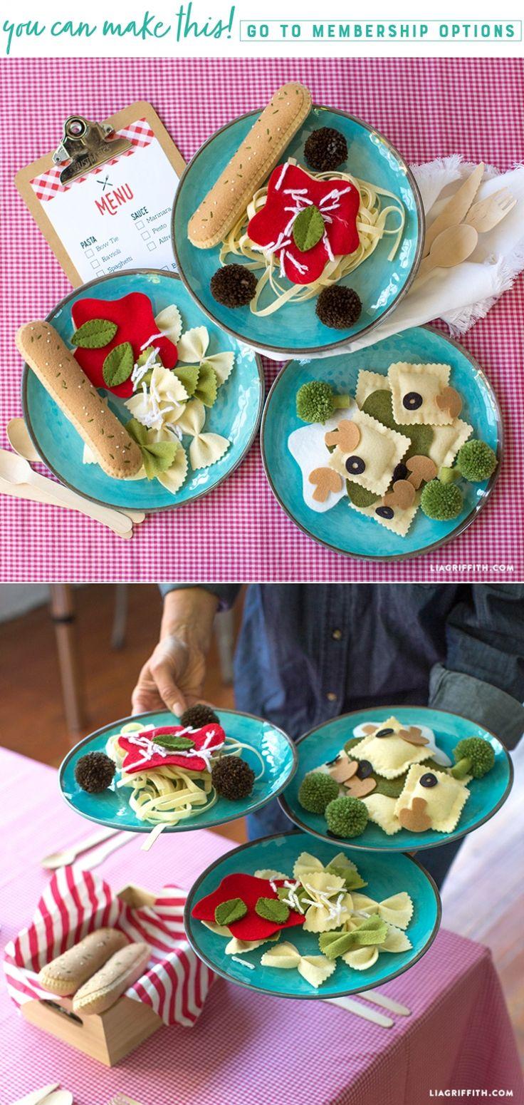 Kreieren Sie ein Easy Felt Pasta Play Food Set für Ihre Kinder