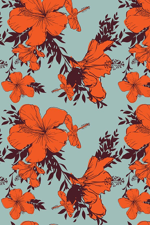 Hibiscus pattern by smileysunday - Hand illustrated floral pattern in orange and mauve on a teal background on fabric, wallpaper, and gift wrap. Bold floral pattern by indie pattern designer smileysunday.