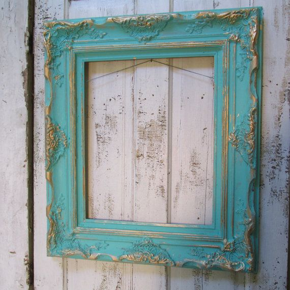 Large Aqua Frame Solid Wood With Gold Accents Cottage Chic