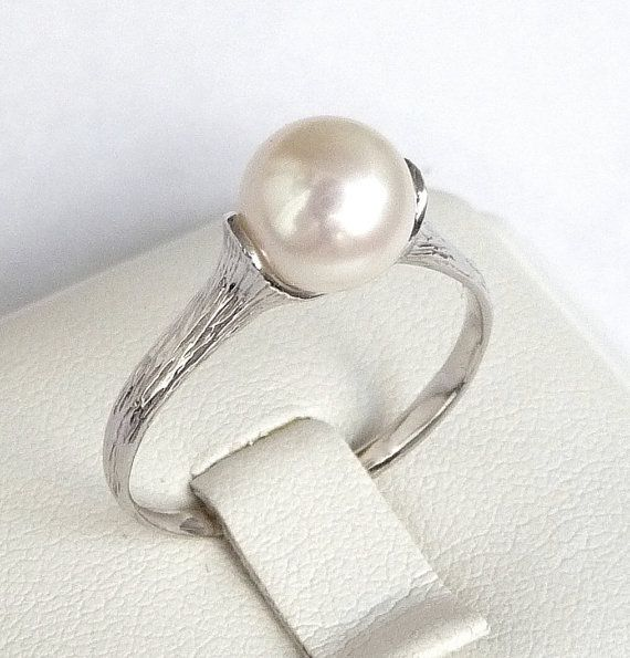 Engagement pearl ring white gold pearl ring promise ring with round smooth pearl 7.5mm