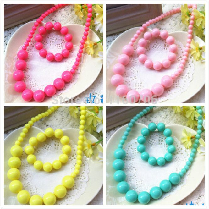 2015 nieuwste mode snoep kleur hanger ketting armband set meisjes kind jurk sieraden acryl kralen ketting sieraden groothandel(China (Mainland))
