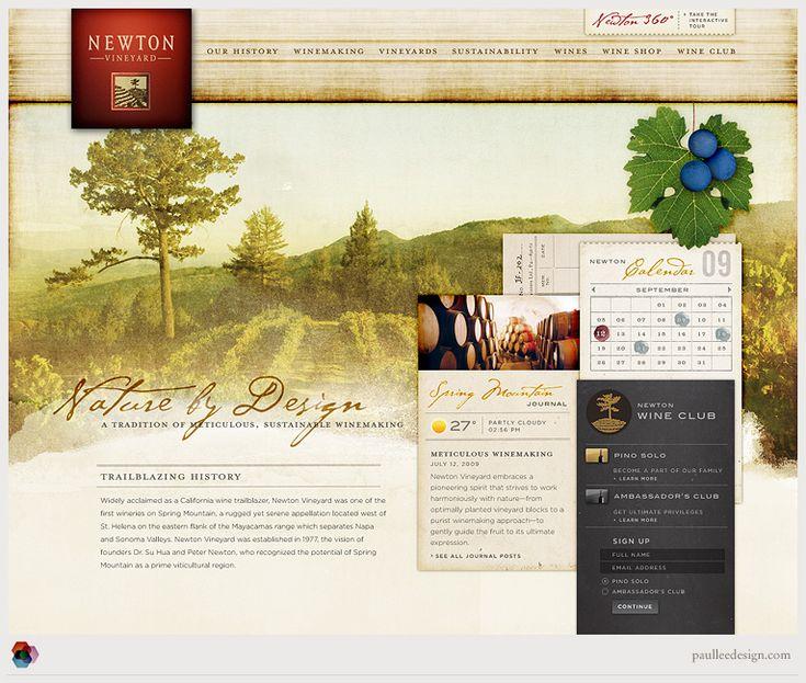Newton Vineyard Website Designer Paul Lee Design Image 1 Of 2 Web Design Interactive Design Web Inspiration