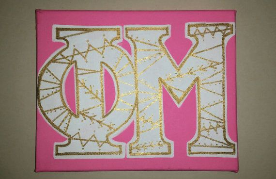 Phi Mu Greek Letter Painted Canvas