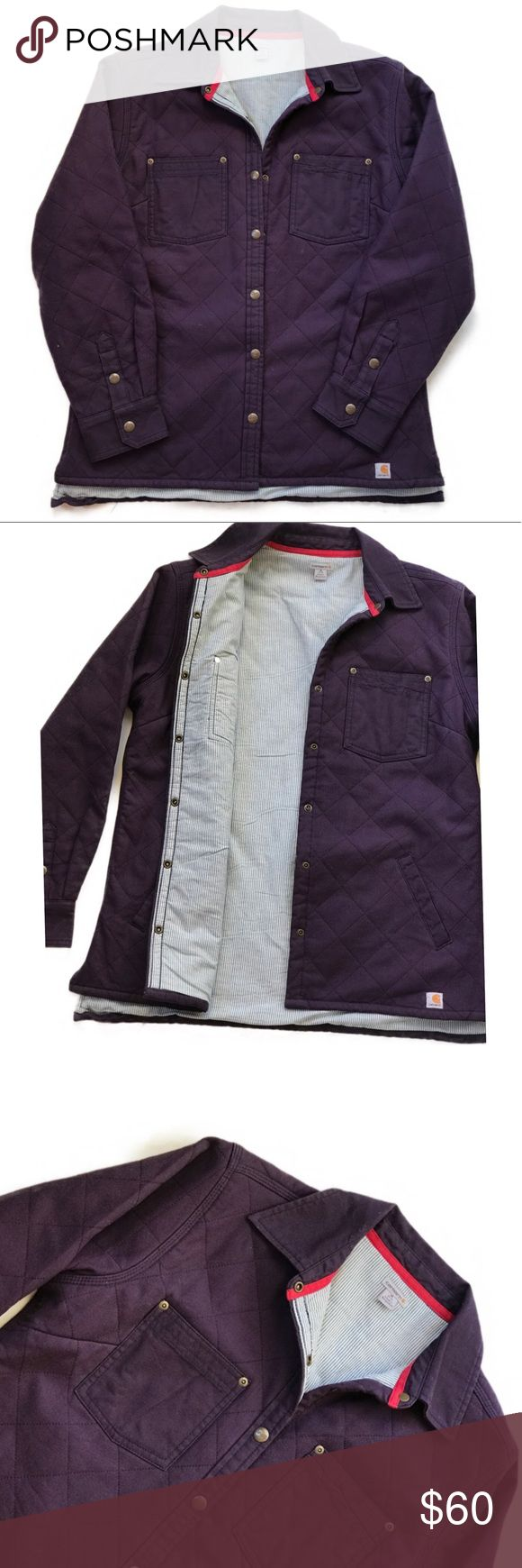 NEW Women's Carhartt Quilted Plum Work Jacket New without tags excellent condition !  Dark plum Quilted jacket with stripped interior lining. Carhartt Jackets & Coats