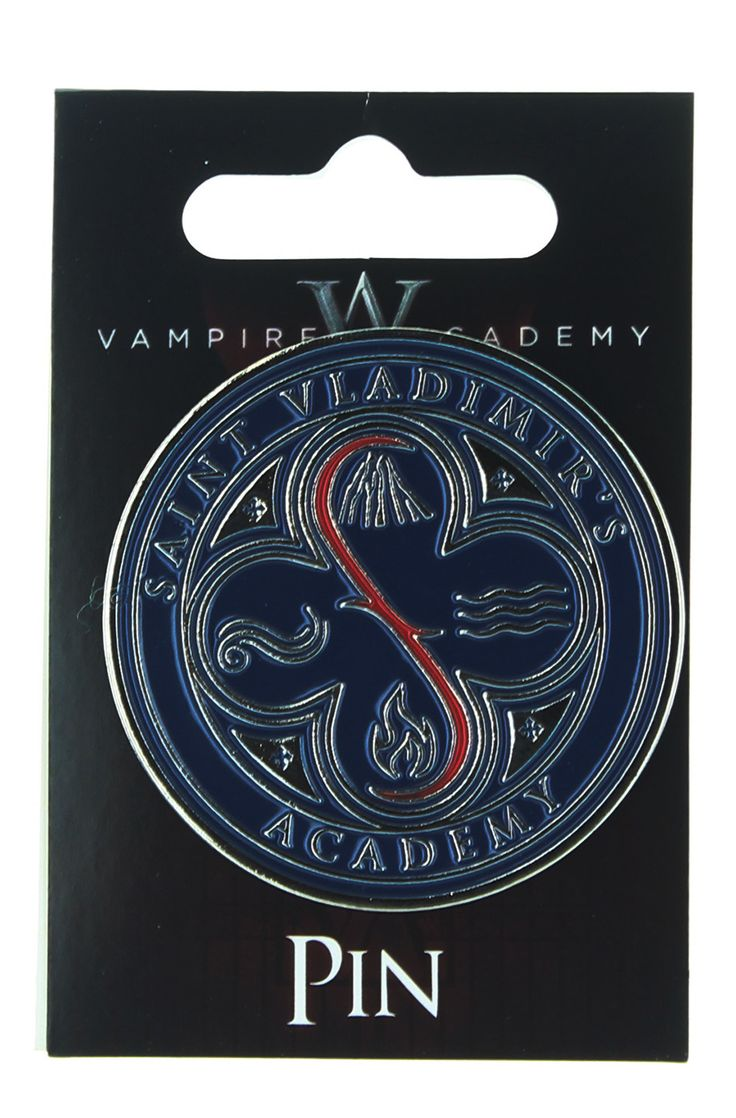 Show your school spirit with this Vampire Academy collector's pin! Real metal pin features St. Vladimir's lettering and logo.