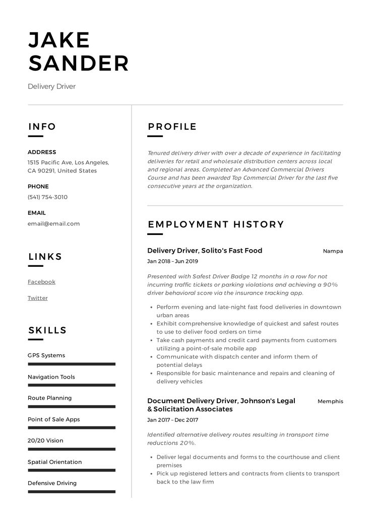 Delivery Driver Resume & Writing Guide in 2020 Guided