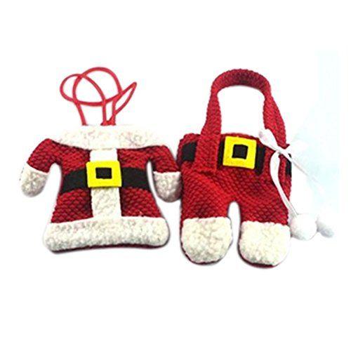 SEASOFBEAUTY Santa-Anzug Weihnachten Besteckhalter Tasche…