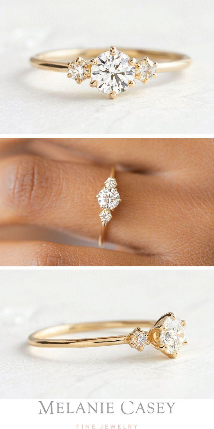 THREE STONE UNVEILED RING, 0.46ct Round Diamond, 14k Yellow Gold Three Stone Engagement Ring