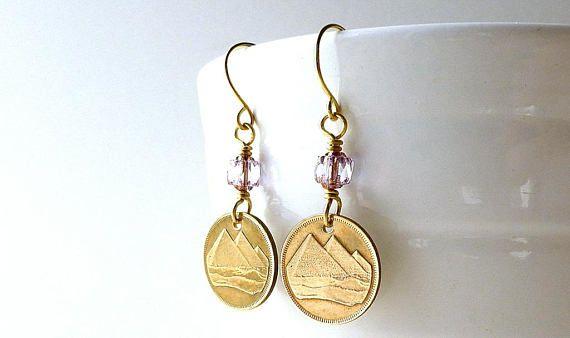 Egyptian earrings Coin earrings Coin jewelry Pyramid