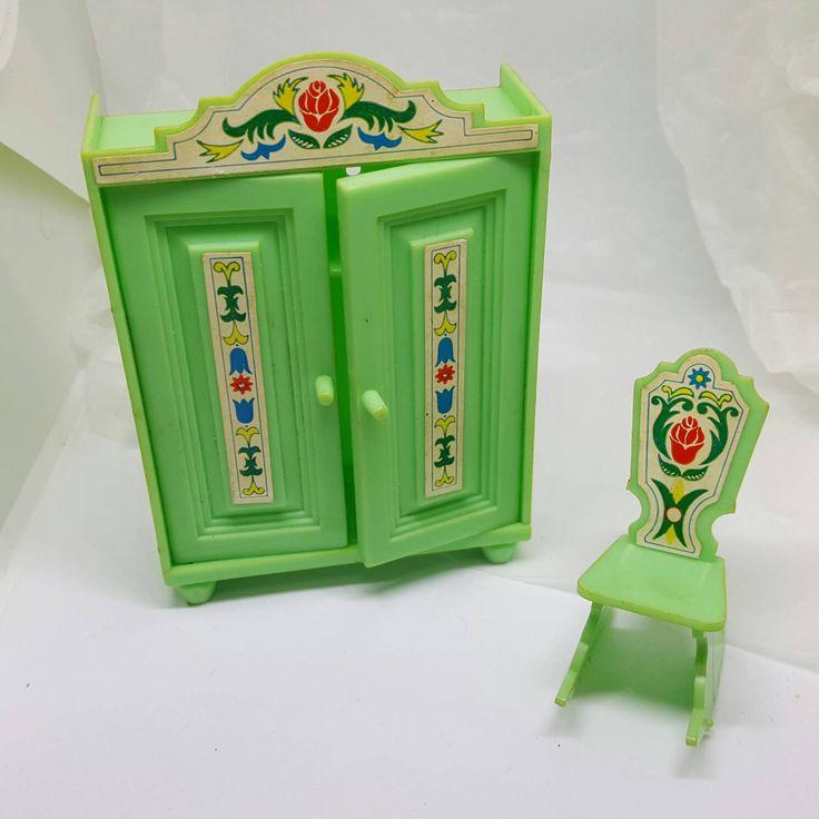 Dollhouse Wardrobe and Rocking Chair Jean West Germany signed hard plastic Cupboard Rocker #dollhouse #toyfurniture