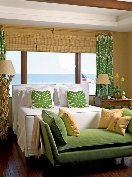 rustic green beach themed bedroom | Master Bedroom Idea. Bright green and yellow beach theme ...