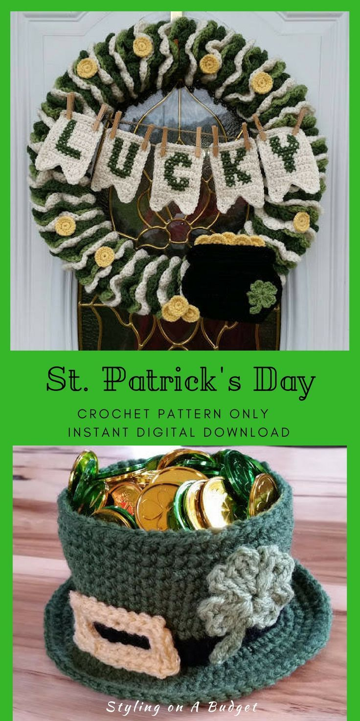 These are a charming country decoration. #stpatricksday #crochet #patternsforcrochet #instantdownload #etsy#ad