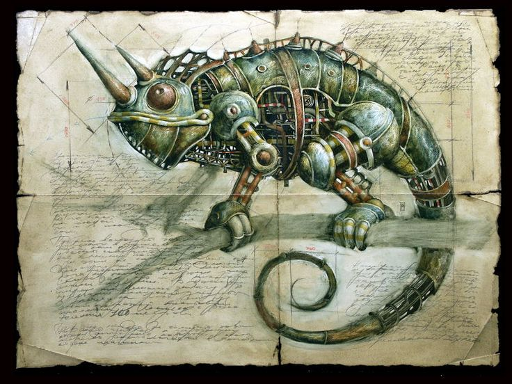 Lizard armor - (some very beautiful drawings by Vladimir Gvozdariki from his website of machine animals that seem to come out from some Industrial utopian world.)