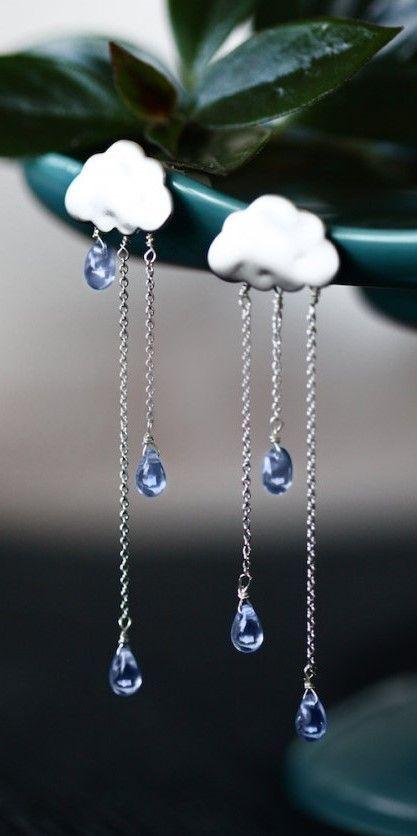 SUMMER RAIN silver long chain light blue drops rain - cloud earrings