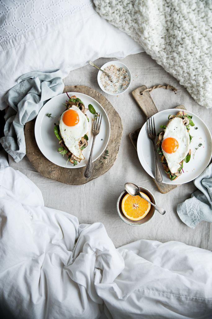 Breakfast time. Eggs on toast