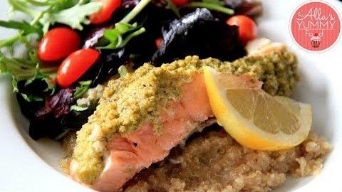 Salmon & Quinoa Salad Recipe - Запеченный лосось под соусом песто
