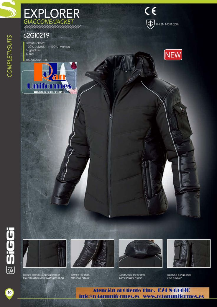 Cazadora acolchada y ligera. http://www.rolanuniformes.es/ropa-trabajo-uniformes-industriales/rolan-siggi-professional/