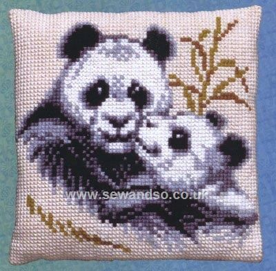 Buy Panda Family Cushion Front Chunky Cross Stitch Kit Online at www.sewandso.co.uk