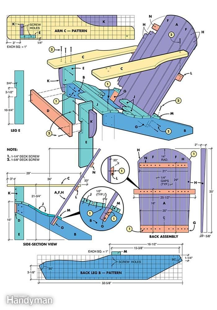 Figure A has scale drawings explaining how to build an Adirondack chair.