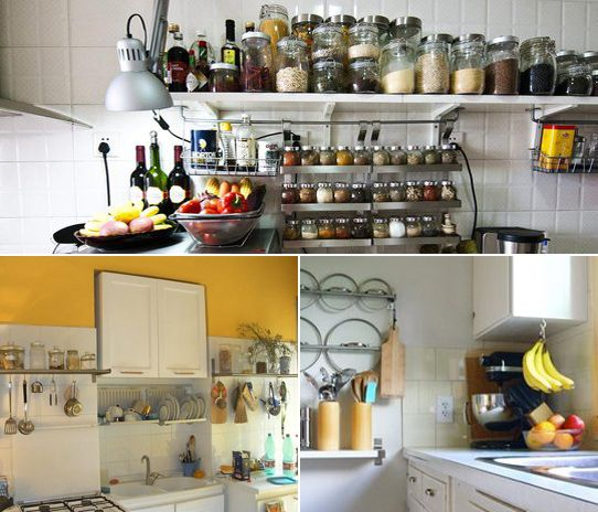 Storage ideas for small kitchens...pot lids act as visual art on the wall (bottom right!)