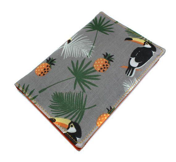 pochette papiers de voiture unisexe : carte grise, assurance, permis en tissu original toucan et ananas