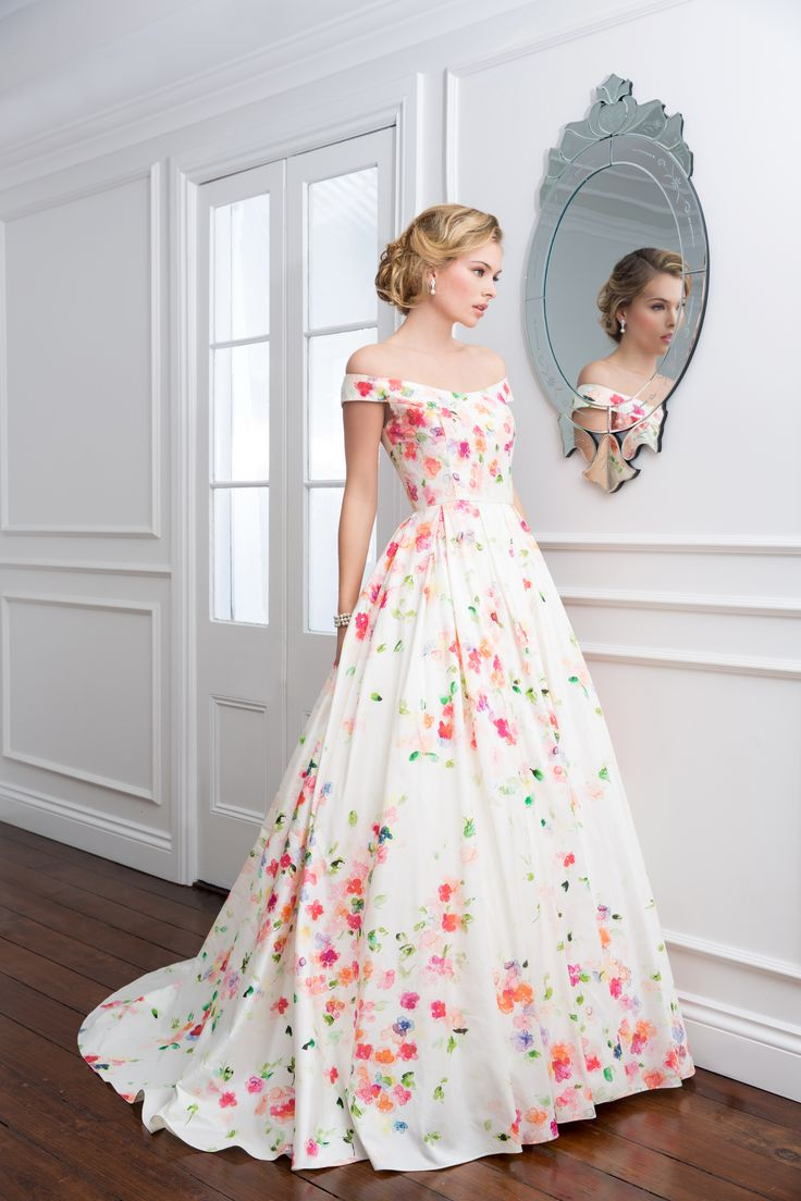 'Daphne' - Wendy Makin Couture. Floral/ off the shoulder/ princess dress/ full skirt/ waisted.