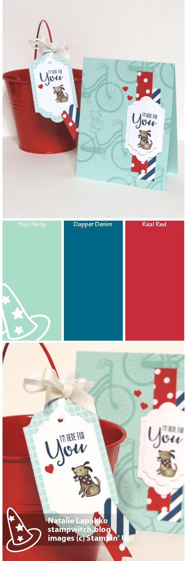 Homemade card by Natalie Lapakko with SNEAK PEEK of Bike Ride stamp set from Stampin' Up! Color inspiration: Pool PArty, Dapper Denim, Real Red