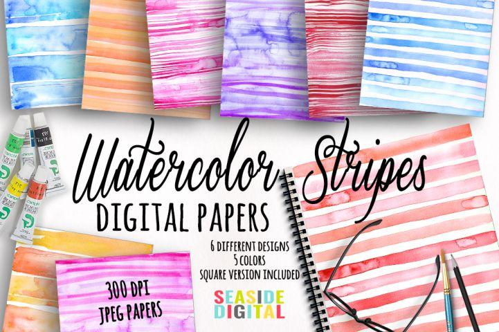 Watercolor Stripes Texture Papers from DesignBundles.net