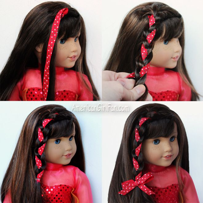 Side Braid With Christmas Ribbon American Girl Doll Hairstyle
