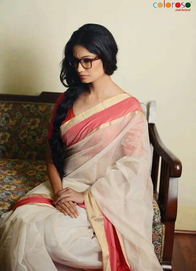 A simple chanderi solid shada saree lal paad from Coloroso Weaves