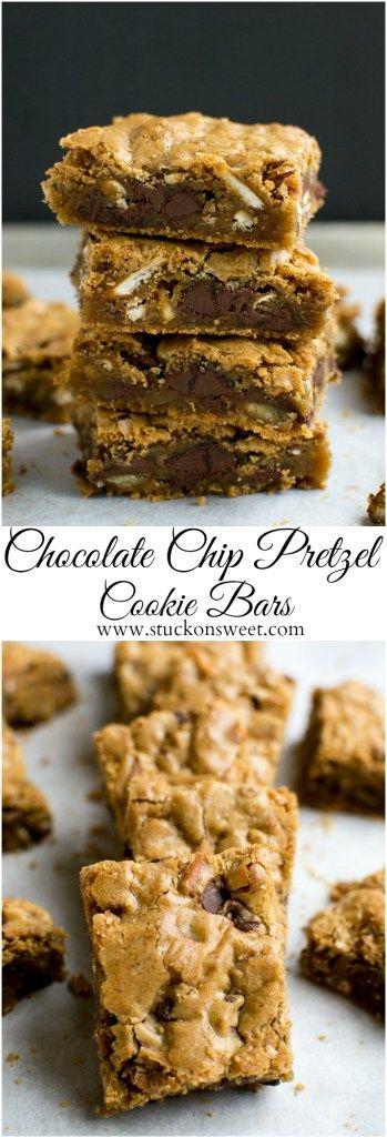 Chocolate Chip Pretzel Cookie Bars. These are so delicious and you only need one bowl to make them! I love this recipe! |
