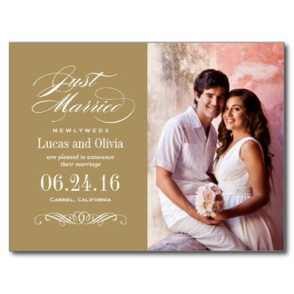 Just Married Announcement Photo Cards Arts - Arts