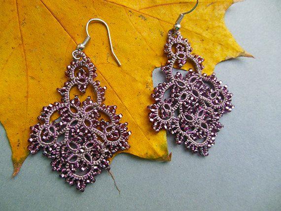 Pendientes de encaje gris rosado filigree pendientes de