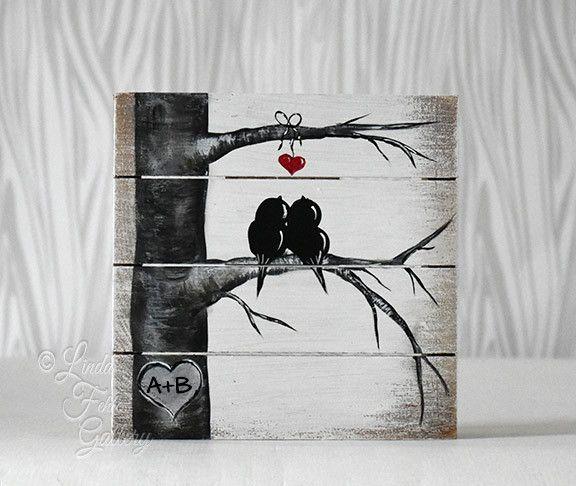 Love Birds Art Block/Shelf Sitter - A Perfect Bridal Shower Gift!