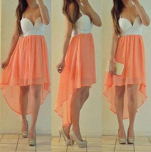 Peach Tail Hem Dress