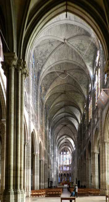 Ribbed Vaults In The Nave Of St Denis Paris Cathedral ArchitectureGothic ArchitectureRibbed VaultSt DenisCathedralsRomanesqueMonumentsArt
