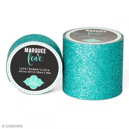 Cinta adhesiva de purpurina ancha Marquee Love - Azul verdoso - 5,08 cm x 2,44 m - Fotografía n°1
