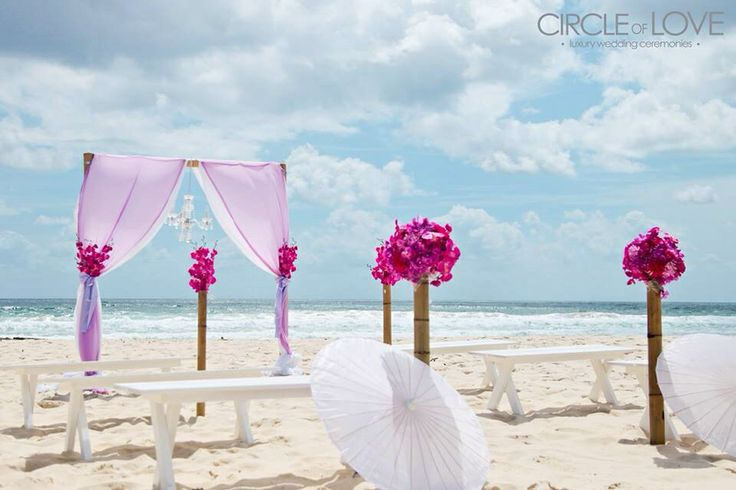 Beach wedding benches Gold Coast beach wedding ideas Purple wedding theme www.circleofloveweddings.com.au