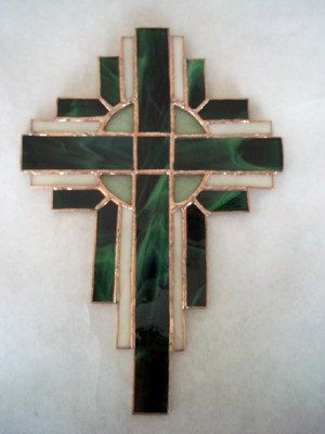 Beautiful Stained Glass Cross in Emerald